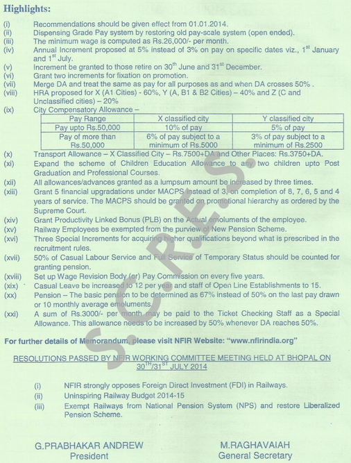 Proposed Pay Scales Department Wise Submitted By Nfir To 7th