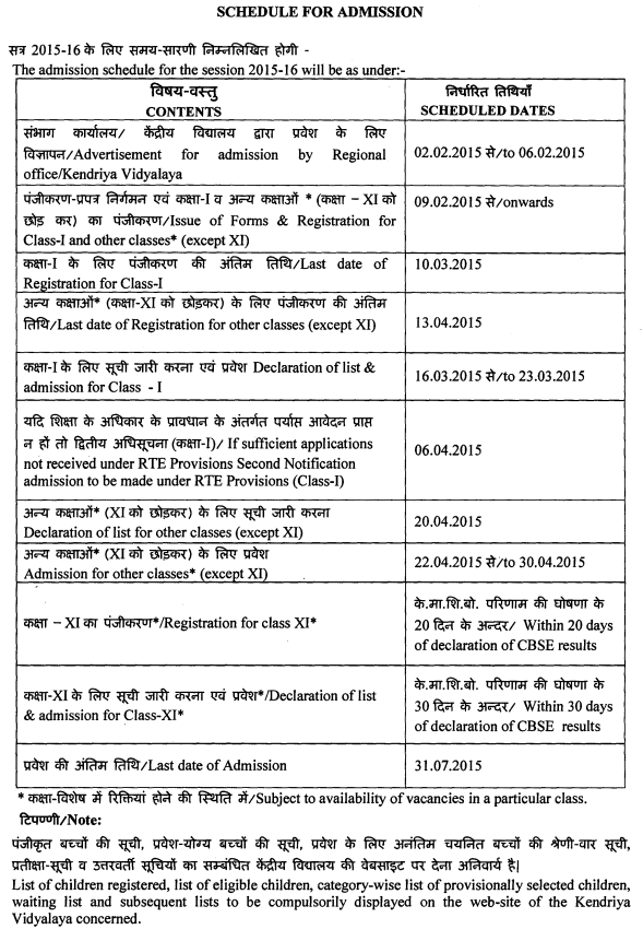 KV SChools Admission Schedule For The Year 2015 16  Admission Forms Of Schools