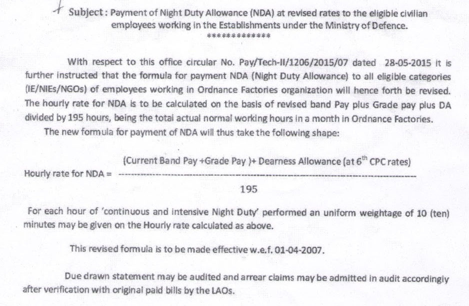 How to calculate Night Duty Allowance NDA