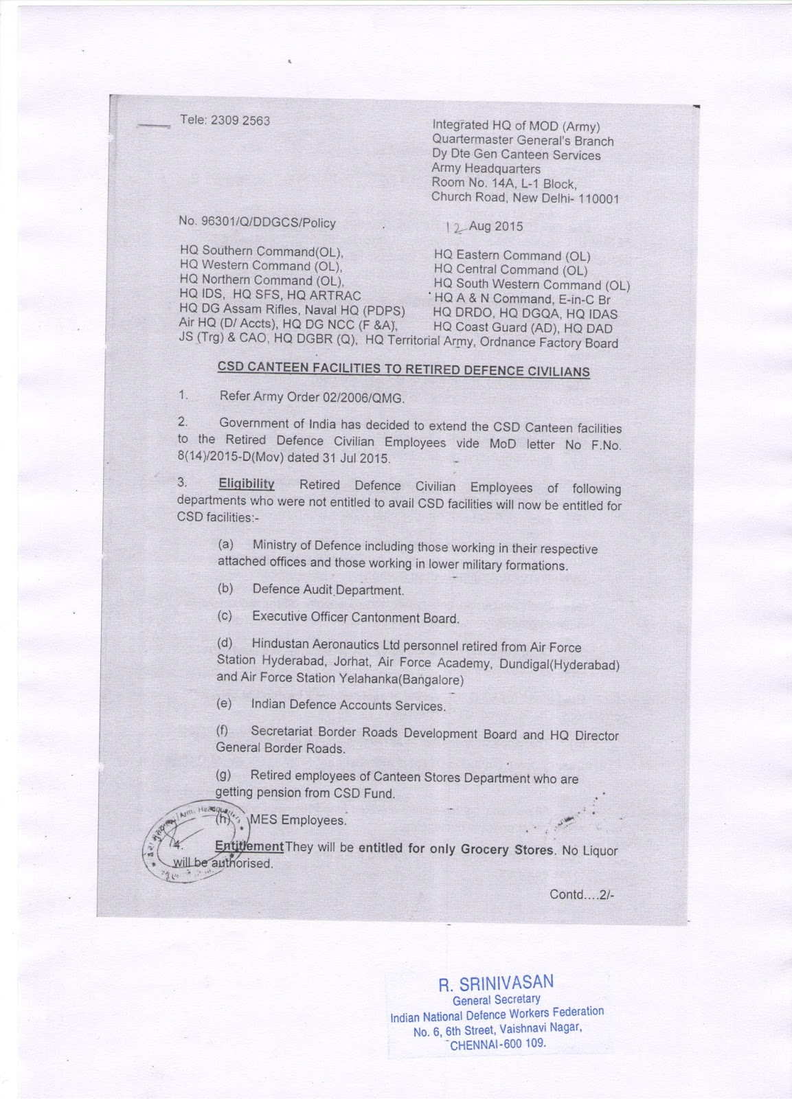 csd facilities for retired employees mod order with application