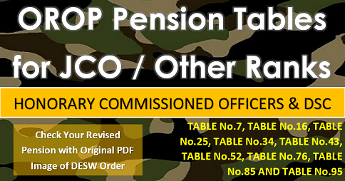 orop pension tables for jco and other ranks