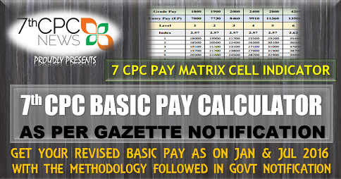 Revised Basic Pay Calculator as per 7th CPC Gazette