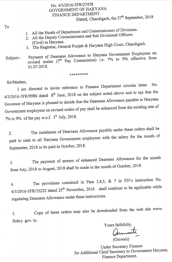 DA Orders issued by Finance Department of Haryana — CENTRAL