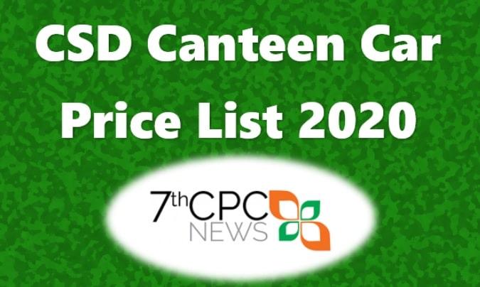 CSD Canteen </em><em>Four Wheeler Price List 2020 PD