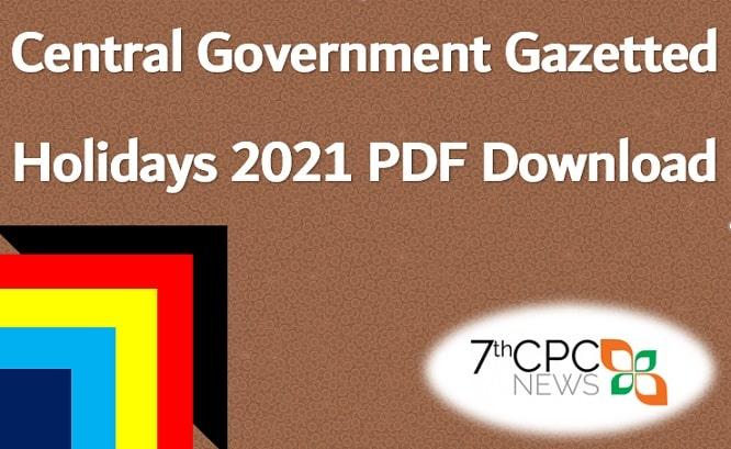 Central Government Calendar 2021 PDF download