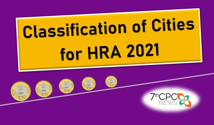 Classification of Cities for House Rent Allowance to CG Employees 2020