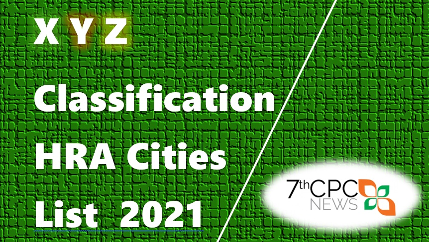 X Y Z Classification of Cities for HRA 2021 PDF
